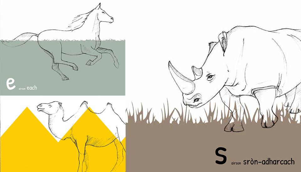illustrations for scottish gaelic alphabet