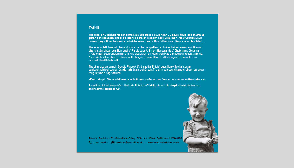 seinnibh comhla rinn CD design extract booklet