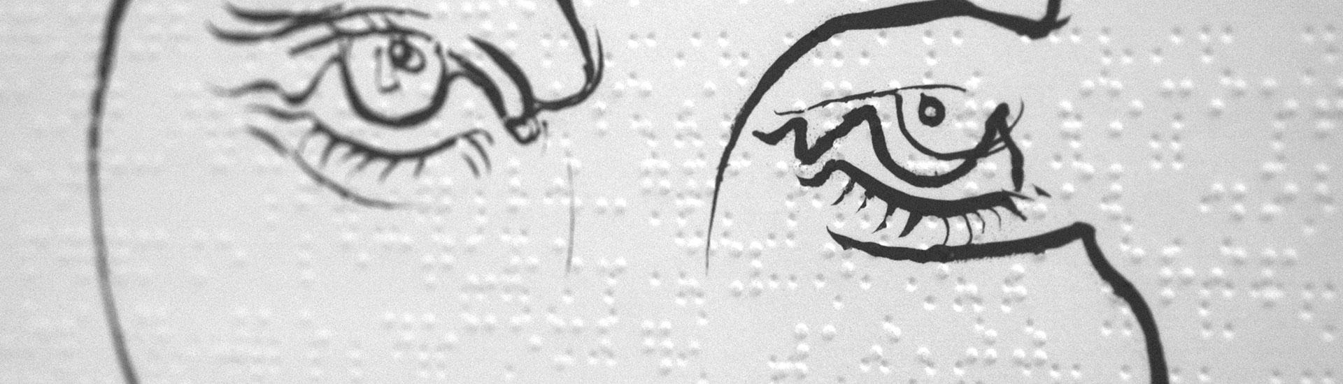 pen drawing on braille, by steven mckenzie